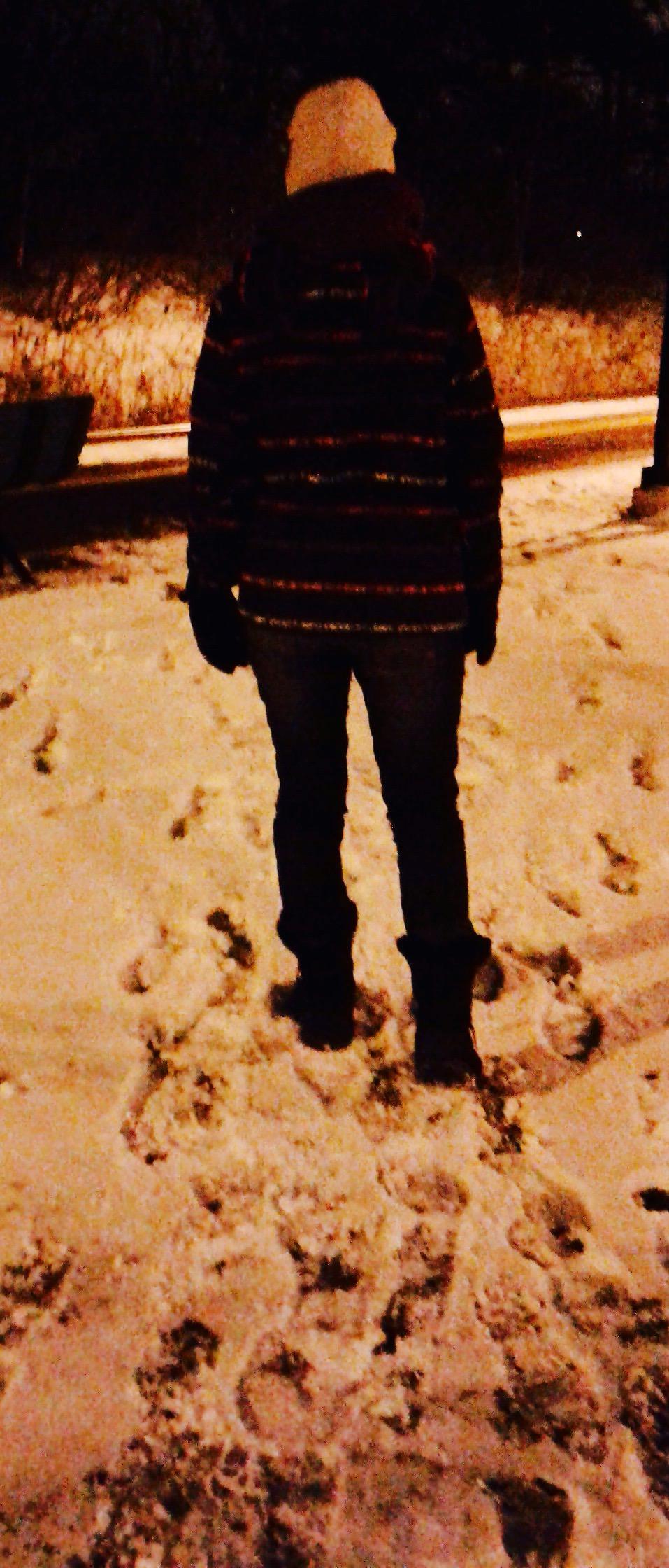 Steve Giasson. Performance invisible n° 73 (Laisser des traces de pas dans la neige parmi d'autres traces de pas.) Performeuse : Caroline Genest. Crédit photographique : Christine Corneau. 11 décembre 2016.