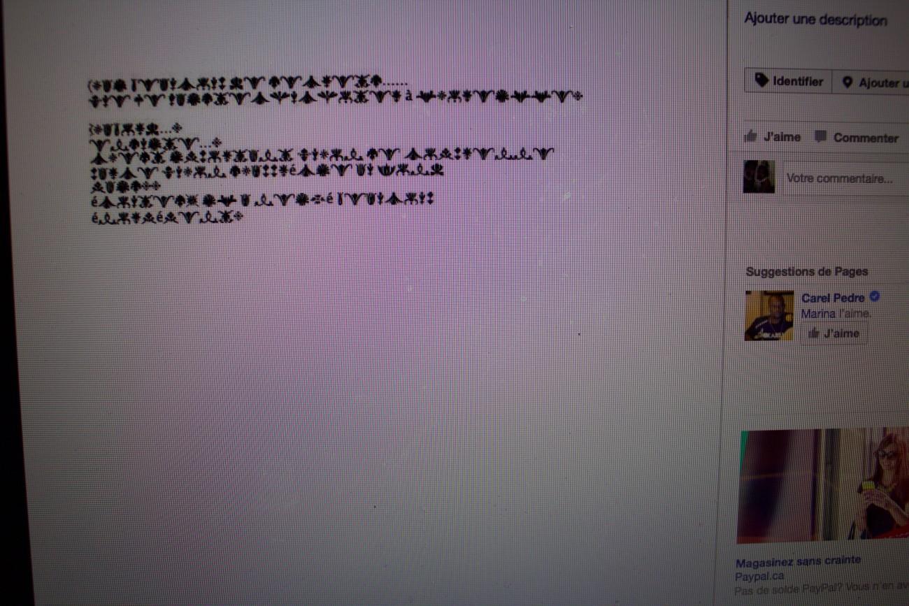 Steve Giasson. Performance invisible n° 28 (Mettre en ligne un texte dont le contenu est typographié à l'aide d'une police de caractère, (ZXX, par exemple, créée par Sang Mun, un ex-employé de la National Security Agency) censée être difficile à décrypter par la Reconnaissance optique de caractères, le logiciel utilisé par Google et la NSA pour analyser les textes sur Internet). Performeur : Anonyme. Crédit photographique : Anonyme. Mars 2017.