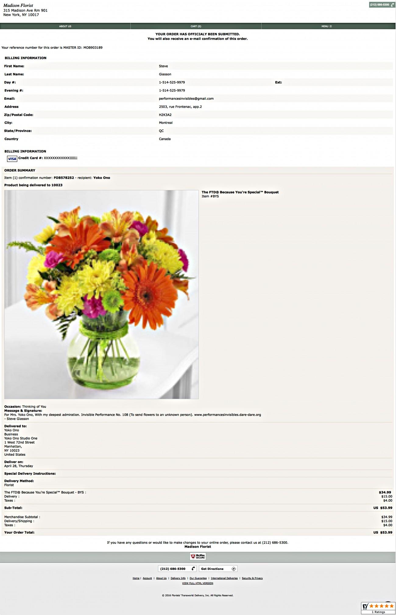 Steve Giasson. Performance invisible n° 108 (Envoyer des fleurs à une personne inconnue). D'après Alejandro Cesarco. Flowers. 2003. Performeur : Steve Giasson. Crédit photographique : Steve Giasson. 28 avril 2016.