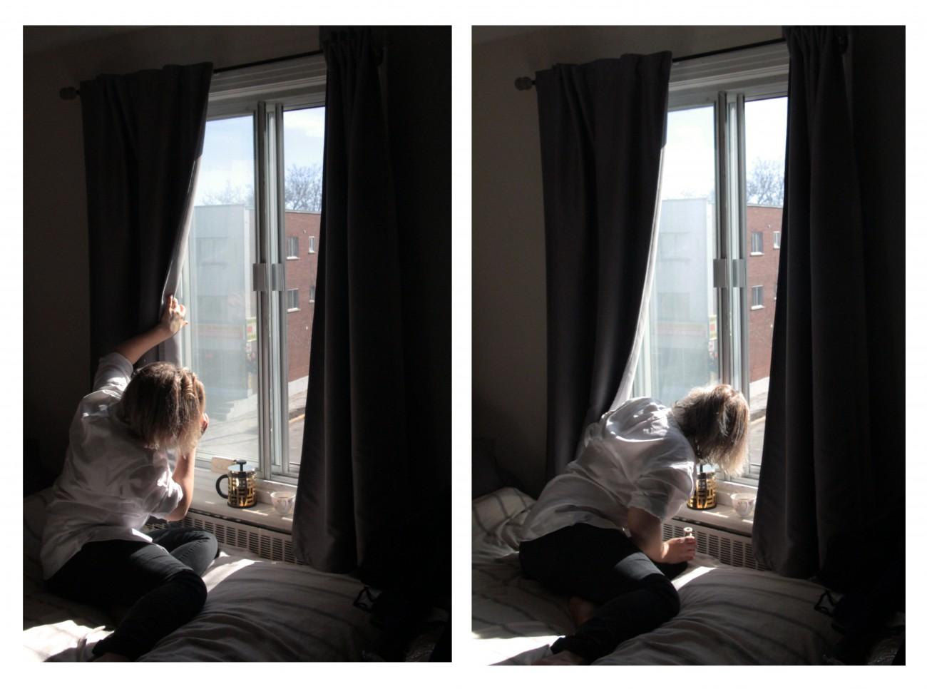 Steve Giasson. Performance invisible n° 29 (Épier quelqu'un ou quelque chose de sa fenêtre.) Performeuse : Audrey Rondeau. Crédit photographique : Olivier Chicoine. 13 mars 2016.