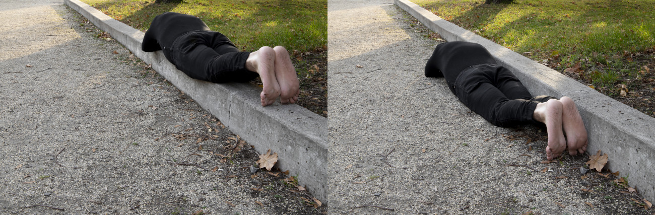 Steve Giasson. Performance invisible n° 196 (Échouer encore - Échouer mieux). Reenactment de Karel Miler. Either - Or. 1972. Performeur : Steve Giasson. Crédit photographique : Martin Vinette. Retouches photographiques : Daniel Roy. 14 novembre 2020.